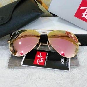 Ray bans aviators rose gold sunglasses 58mm